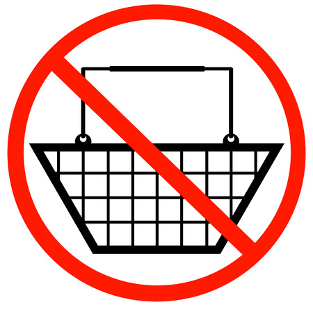purchase: shopping basket with not allowed symbol - no shopping baskets allowed Illustration