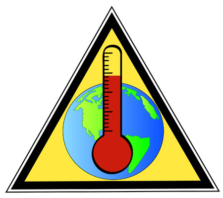 yellow triangular sign warning of global warming  Vector