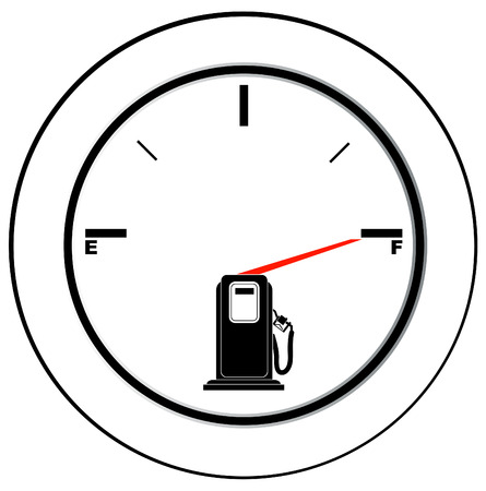 fill: vehicle fuel gauge with arrow pointing to full - illustration
