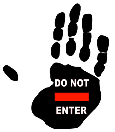 do not enter sign on the print of a persons hand Vector