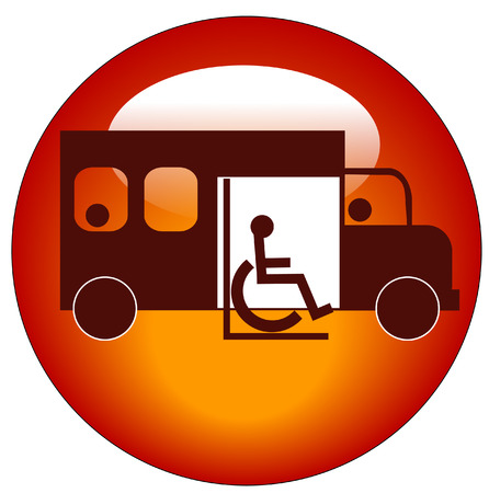 button or icon of paratransit bus picking up passenger