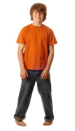 cute young teenage boy standing pigeon toed isolated on white background