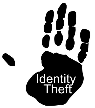 identity protection: hand print with identity theft - having identity stolen