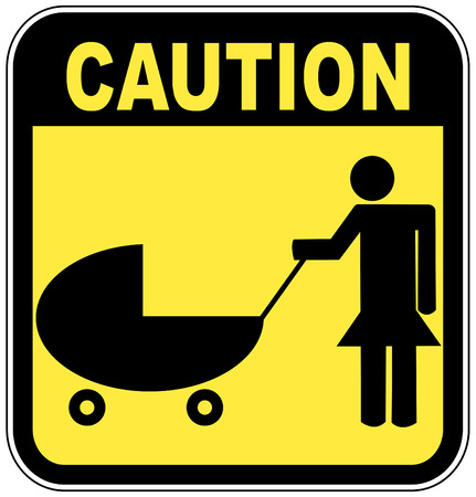 yellow and black caution sign - parents crossing  with strollers  Stock Vector - 3461596