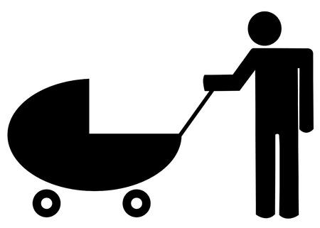 apa: father pushing  buggy or stroller - illustration Illusztráció