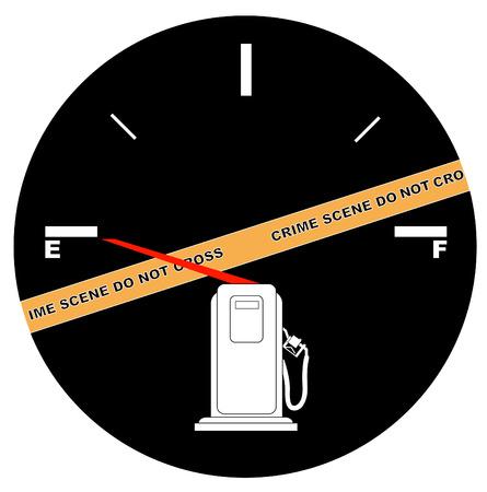 fuel crisis: fuel gauge on empty with crime scene - gas or fuel crisis concept
