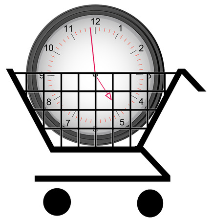 forsale: shopping cart with a clock - concept of buying time