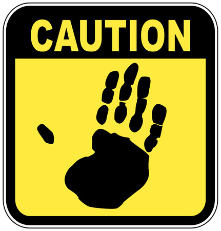 yellow and black caution sign with hand print - no touching Vector