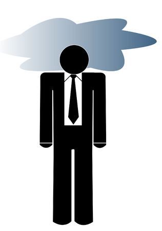 fatigued: business man with his head in a storm cloud - depression
