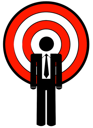 business man with target as a head - illustration Vector