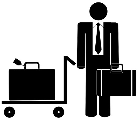 business man with briefcase and luggage on trolley Vector