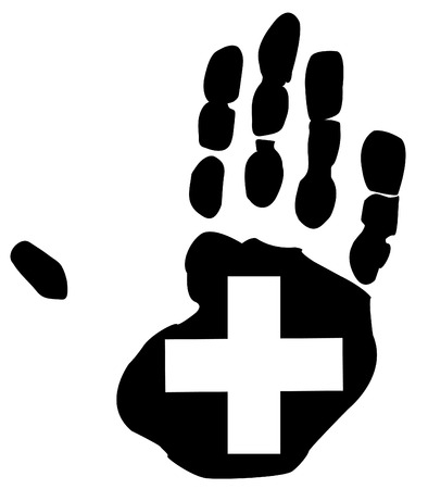 safety first: illustration of hand print with first aid symbol
