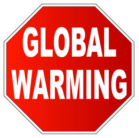 co2: red stop sign with the word stop global warming