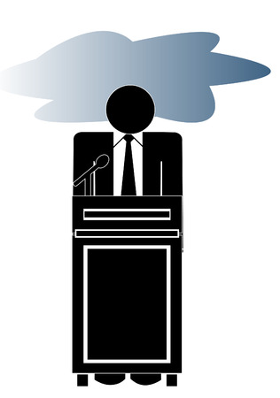 cheerless: business man at podium with storm cloud over his head