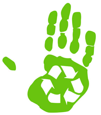 green recycle symbol inside the print of a hand