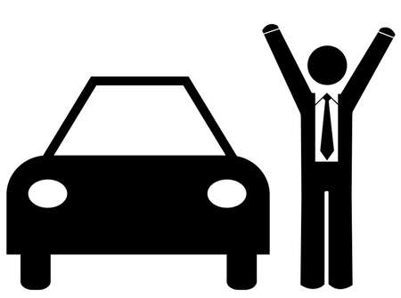 business man with arms up standing beside car - concept new car sale or purchase Vector