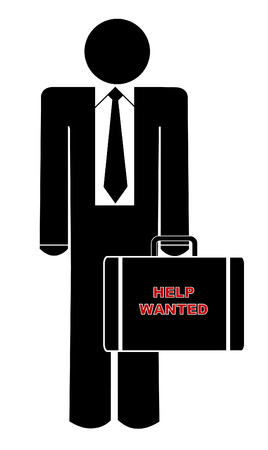 help wanted: business man holding briefcase with sign saying help wanted