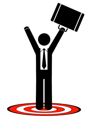 business man with briefcase standing on target with arms up Vector