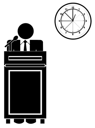 lectern: business man standing at podium with clock - long speech or presentation  Illustration