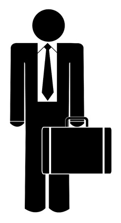 motivated: business man or figure holding briefcase or suitcase