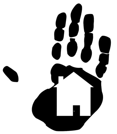 settling: shape of a home inside the print of a hand Illustration