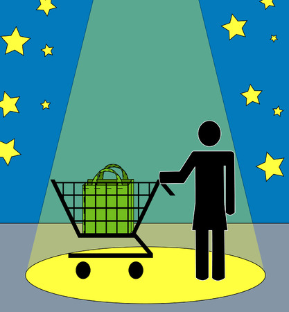 supermarket checkout: woman shopper with shopping cart in the spotlight Illustration