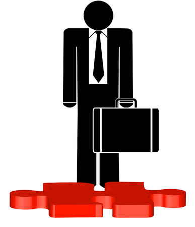 appointments: business man with briefcase standing on red puzzle piece