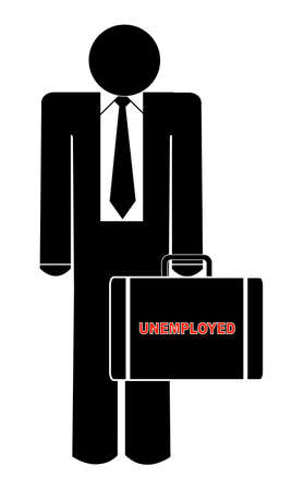 unemployed: business man holding briefcase with the words - unemployed