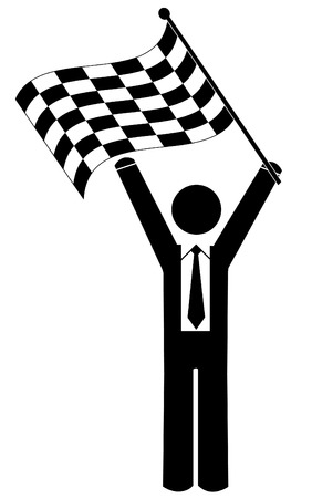 checked flag: business man or figure waving checkered flag - winner