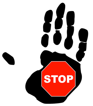 stop sign inside the palm print of a hand Vector