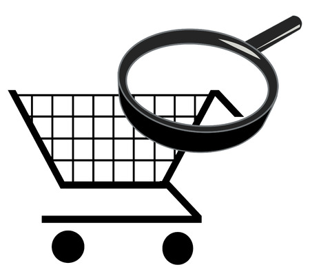 handglass: zoom in on shopping cart - searching for the best prices Illustration