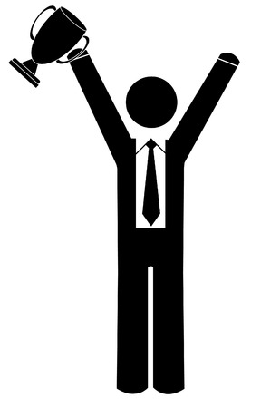 business man with arms up holding trophy Vector