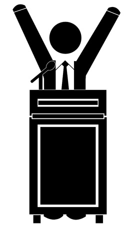 elect: business man celebrating success at the podium
