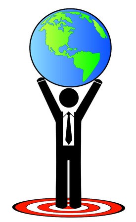 attaining: business man attaining a global goal or target Illustration