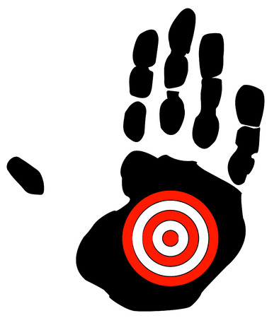 middle finger: hand print with target symbol - getting bullied, specific goal