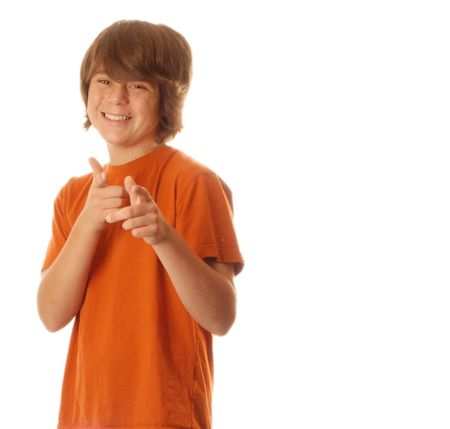youngsters: young confident teenage boy isolated on white background