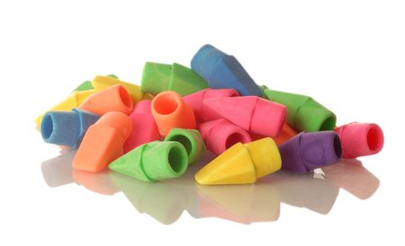 instruct: colorful pencil eraser tops isolaled on a white background