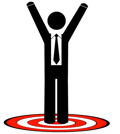 rival: business man or figure standing on red target with arms raised up