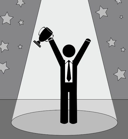 business man or figure holding up trophy standing under the spotlight Stock Vector - 3538908