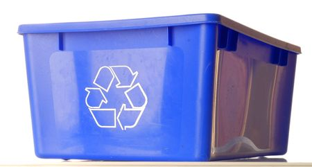blue recycle bin isolated on white background photo