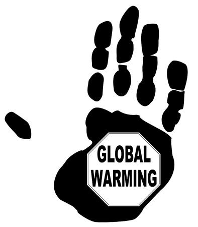 fumes: stop global warming sign in the print of a hand