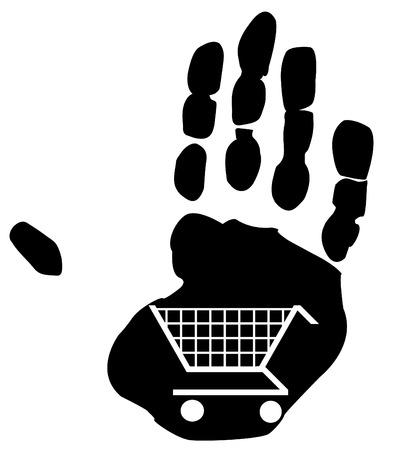 shopping cart design inside the print of a hand Vector