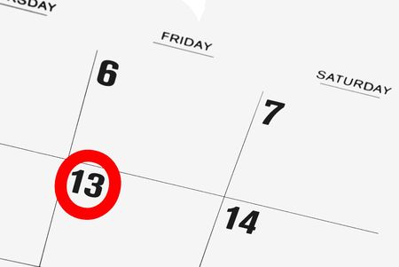 almanac: calendar with  friday the thirteenth circled in red