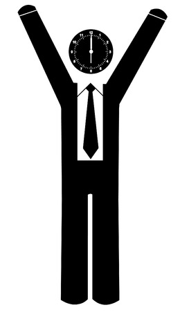 six objects: business man with arms up and clock for head Illustration