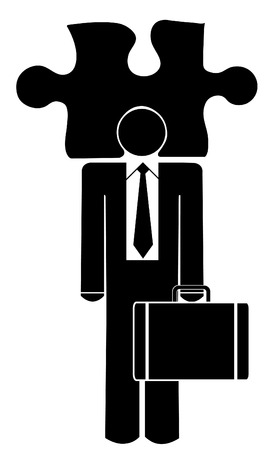 business man with his head in a puzzle Stock Vector - 3570457
