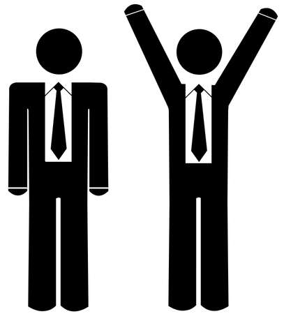 business: business man - stick figures one with arms up celebrating wearing business ties