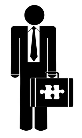 appointments: business man with puzzle piece missing from briefcase Illustration