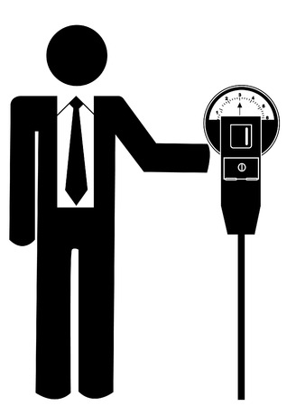 stick man or figure putting  in the parking meter  Vector