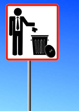 throwing: business man throwing garbage into a trash can - no littering