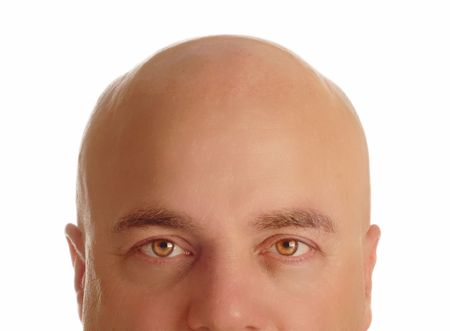 glance: middle age man with bald head isolated on white background